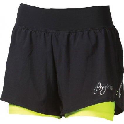 Dámské běžecké šortky PROGRESS Calabria černá/reflexní žlutá