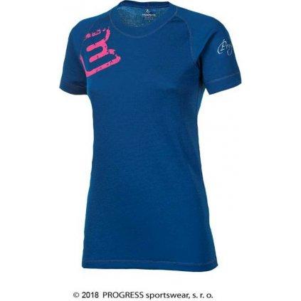 Dámské termo tričko PROGRESS Df Nkrz Print tm. modrá