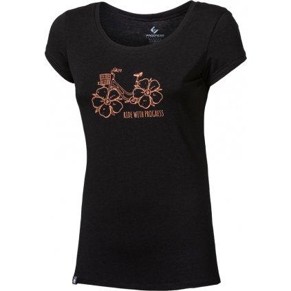 Dámské bambusové triko PROGRESS Liberta Flowbike černá