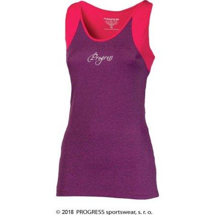 Dámské sportovní tílko PROGRESS Malaga fialový melír/růžová