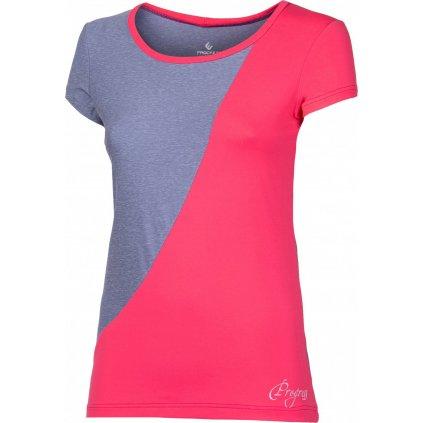 Dámské sportovní tričko PROGRESS Lyka šedý melír/korálová