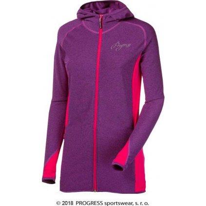 Dámská sportovní mikina PROGRESS Linea fialový melír/pink