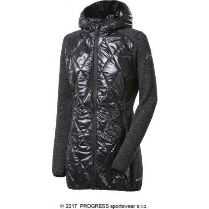 Dámský hybridní vlněný kabátek PROGRESS Silvretta Wool černý melír