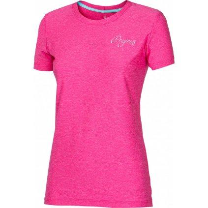 Dámské sportovní tričko PROGRESS Primitiva růžový melír