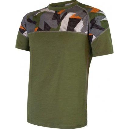 Pánské termo tričko SENSOR Merino Impress zelená/camo