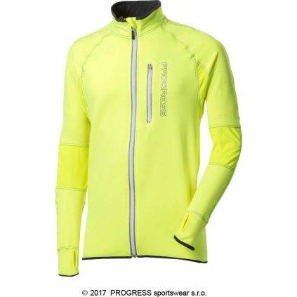 Pánská běžecká mikina PROGRESS Clavos Hi-Viz reflexní žlutá