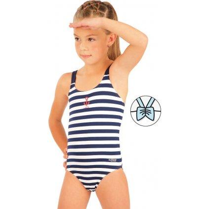Dívčí plavky LITEX jednodílné bílé/modré