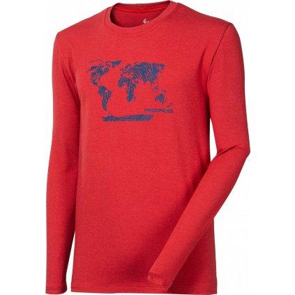 Pánské bambusové triko PROGRESS Vandal Svět tm.červená