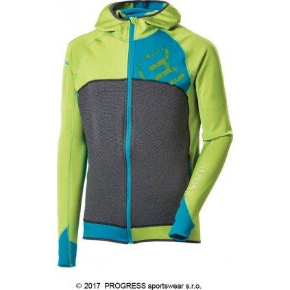 Pánská sportovní mikina PROGRESS Rebel Hoody zelená/tyrkysová