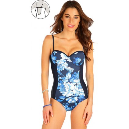 Dámské jednodílné plavky LITEX Bandeau s košíčky modré