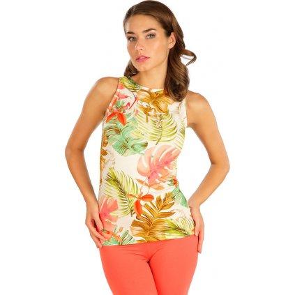 Dámské tričko LITEX bez rukávu bílé/žluté