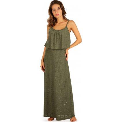 Dámské šaty LITEX dlouhé s volánem zelené