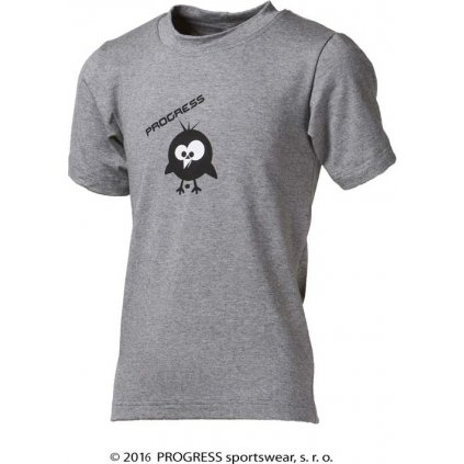 Dětské bambusové triko PROGRESS Bambino Kid Ptáček šedý melír