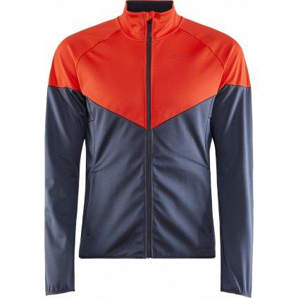 Pánská softshellová bunda CRAFT Glide Block šedá/oranžová