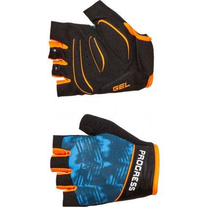 Cyklistické rukavice PROGRESS Ripper Mitts černá/tyrkys/oranž