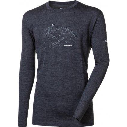 Pánské merino triko PROGRESS Magar tm.šedý melír