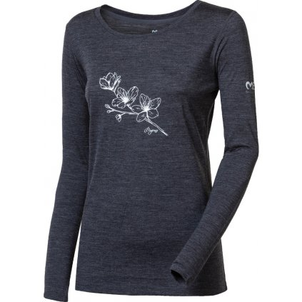 Dámské merino triko PROGRESS Magara tm.šedý melír