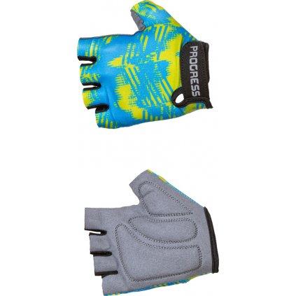 Dětské cyklistické rukavice PROGRESS Valedo Mitts modrá/limetka