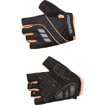 Cyklistické rukavice RPOGRESS Calamita Mitts černá/meruňková