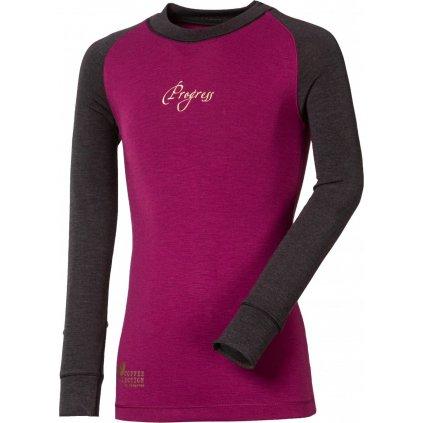 Dětské termo tričko PROGRESS Cc Ndrd antracitová/fialová