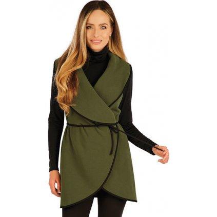 Dámská fleecová vesta LITEX dlouhá zelená