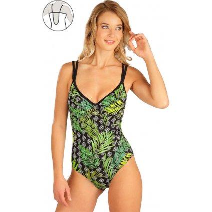 Dámské jednodílné plavky LITEX s kosticemi zelené