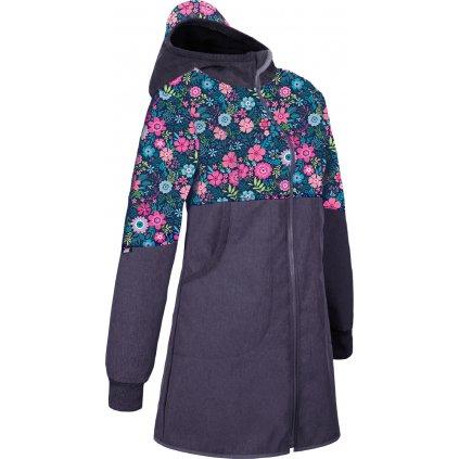 Dámský softshellový kabát s fleecem UNUO, Žíhaná Antracitová, Květinky