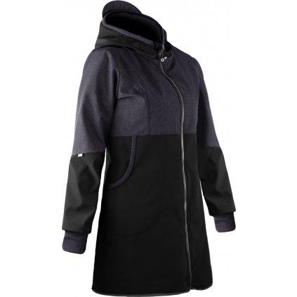 Dámský softshellový kabát s fleecem UNUO, Černá, Žíhaná Antracitová
