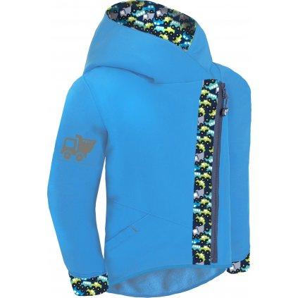 Dětská softshellová bunda s fleecem UNUO Cross, Tyrkysová, Autíčka