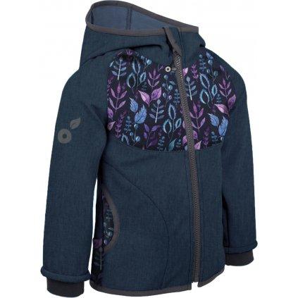 Dětská softshellová bunda s fleecem UNUO, Žíhaná Tm. Modrá, Lístečky