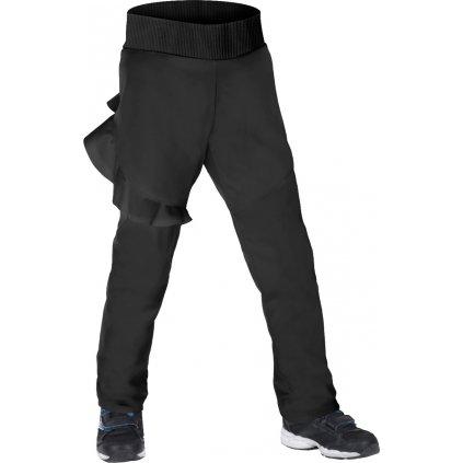 Dětské softshellové kalhoty s fleecem UNUO Fantasy pružné, Černá
