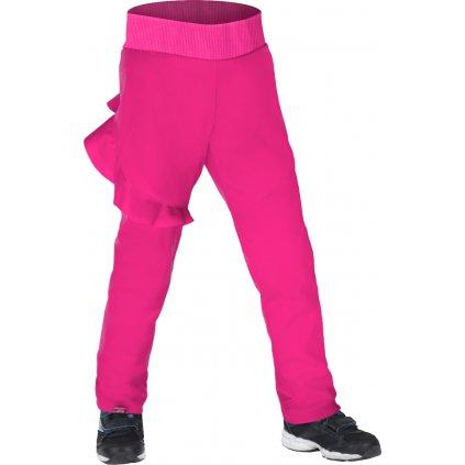 Dětské softshellové kalhoty s fleecem UNUO Fantasy pružné, Fuchsiová