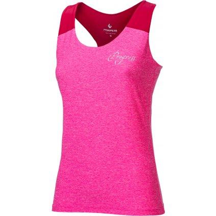 Dámské sportovní tílko PROGRESS Late růžový melír/malinová