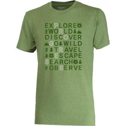 Pánské bambusové triko PROGRESS Barbar Explore zelený melír