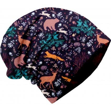 Dětská fleecová čepice UNUO spadená, Noční zvířátka