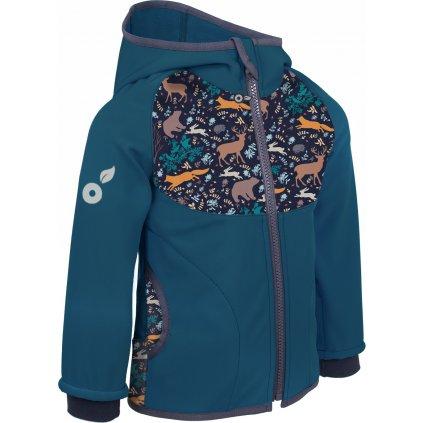 Dětská softshellová bunda UNUO s fleecem, Kobaltová, Noční zvířátka