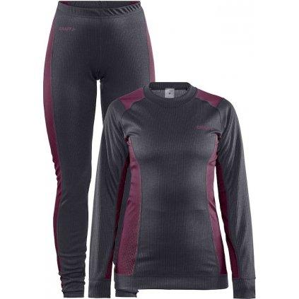 Dámský set termo prádla CRAFT Core Dry Baselayer tmavě šedá