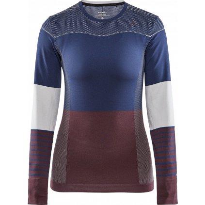 Dámské termo tričko CRAFT Fuseknit Comfort Blocked Ls tmavě modrá