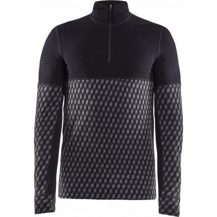 Pánské termo tričko CRAFT Merino 240 Zip Ls černá