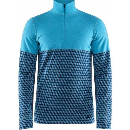 Pánské termo tričko CRAFT Merino 240 Zip Ls světle modrá