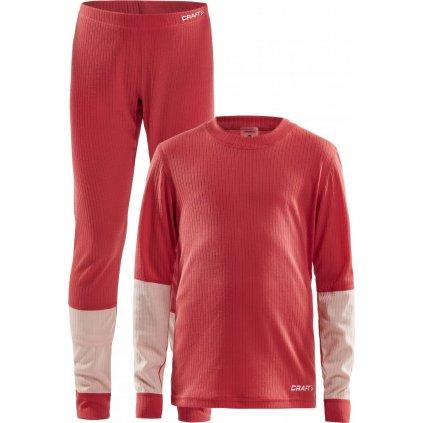 Dětský termo set CRAFT Baselayer Junior červená s růžovou