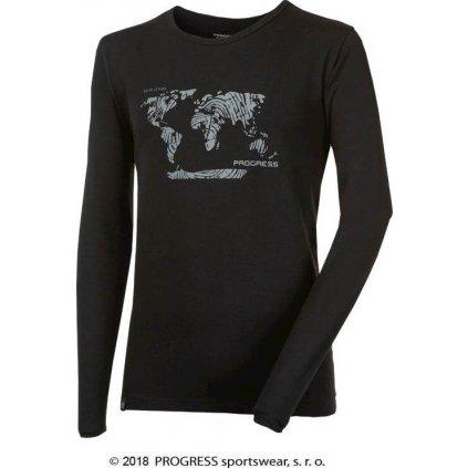 Pánské bambusové triko PROGRESS Vandal Svět černá