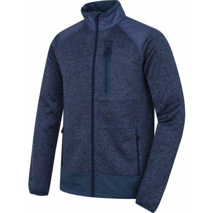 Pánský fleecový svetr na zip HUSKY Alan M černomodrá/tm. modrá
