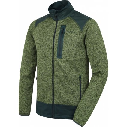 Pánský fleecový svetr na zip HUSKY Alan M zelená/černozelená