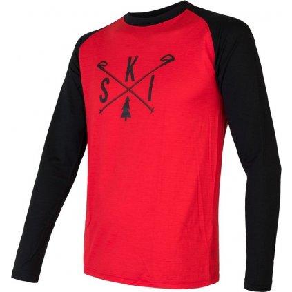 Pánské termo tričko SENSOR Merino Active Pt Ski červená/černá
