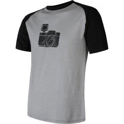 Pánské termo tričko SENSOR Merino Active Pt Camera šedá/černá