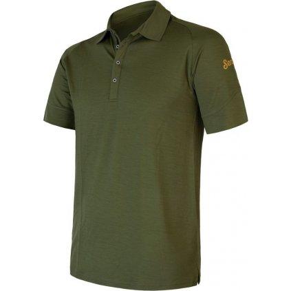 Pánské polo tričko SENSOR Merino Active Polo safari green