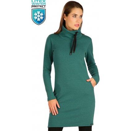Dámské mikinové šaty LITEX s dlouhým rukávem zelené