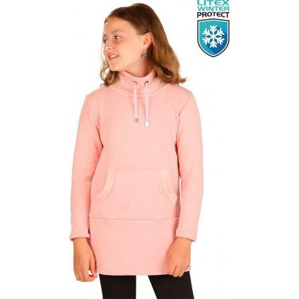 Dětské mikinové šaty LITEX s dlouhým rukávem růžové