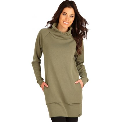 Dámské mikinové šaty LITEX s dlouhým rukávem hnědé